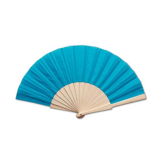 Goedkope turquoise waaier 42 x 23 cm