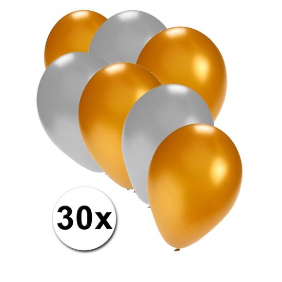 Goud/zilver thema feest ballonnen 30x