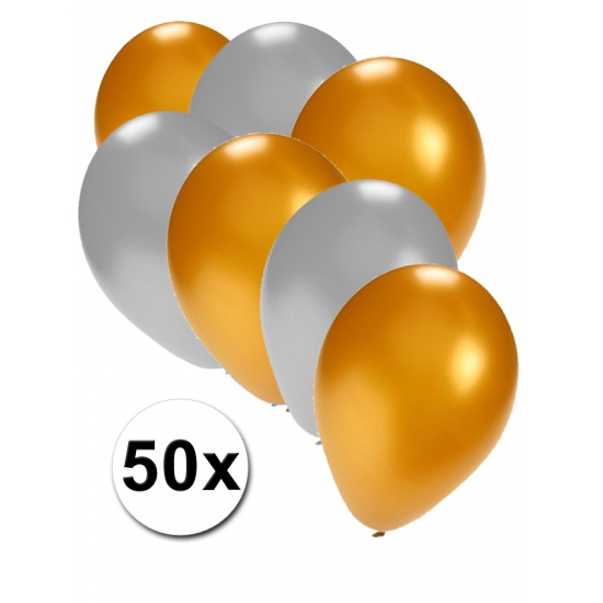 Goud/zilver thema feest ballonnen 50x