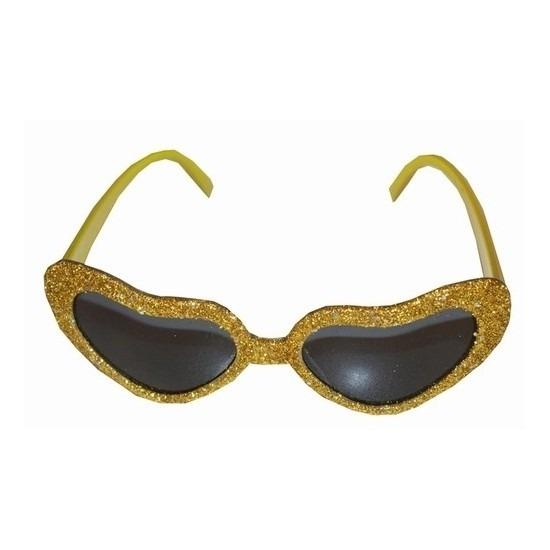 Gouden bril met hartjes