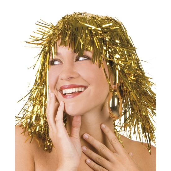 Gouden disco pruik lurex