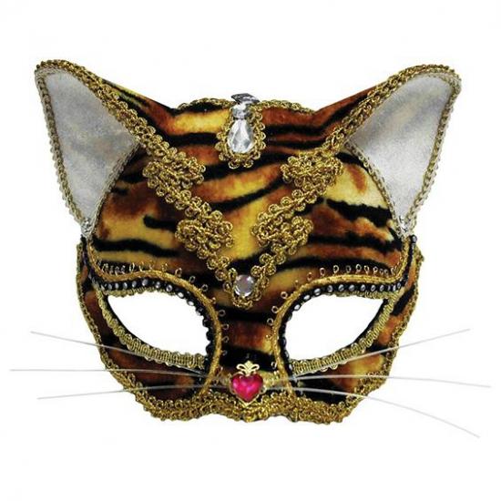 Gouden katten masker met tijger print