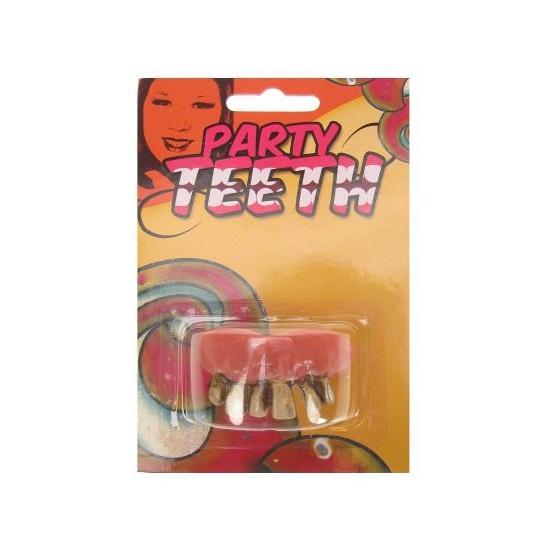 Gouden nep gebit rotte tanden