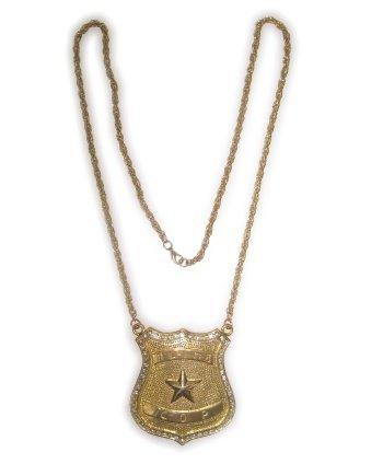 Gouden politie ketting met badge