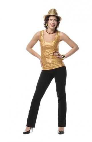 Gouden stretch glitter top voor dames
