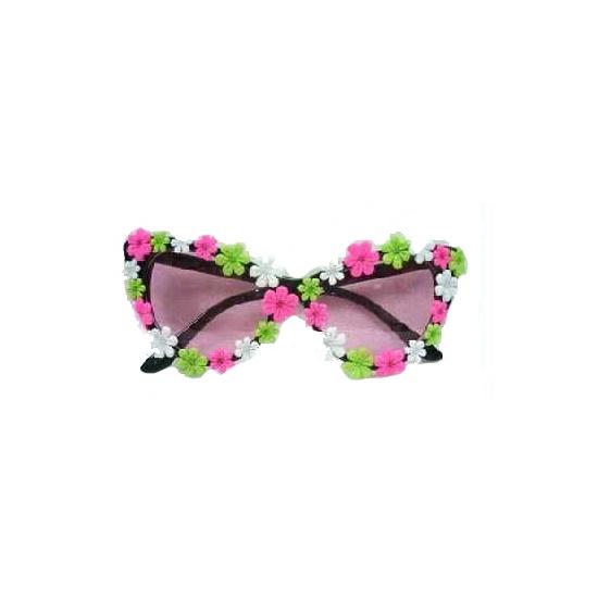 Groen, roze en witte bloemetjes bril