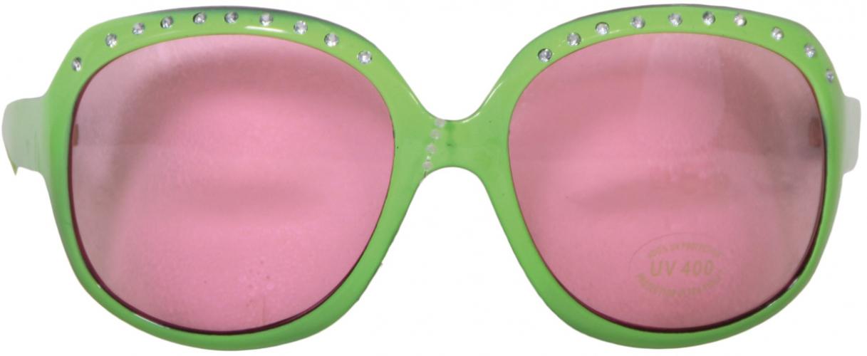 Groene bril met roze glazen