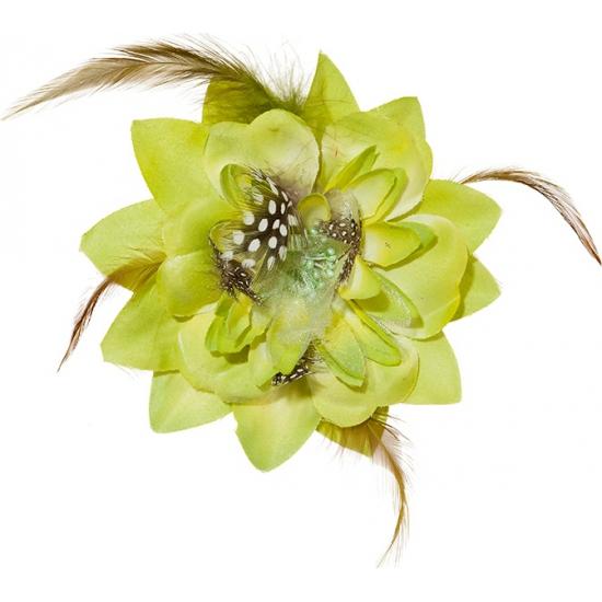 Groene tropische bloem met clip