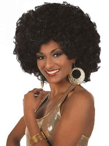 Grote afro pruik voor dames zwart