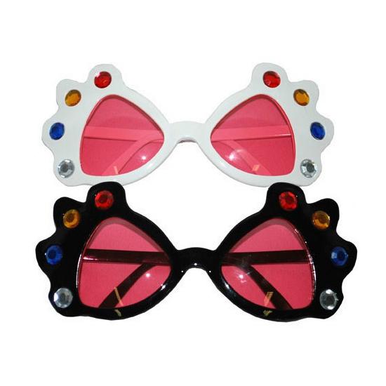 Grote bril met diamanten en roze glazen