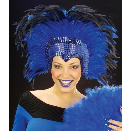 Grote luxe hoofdtooi met veren blauw