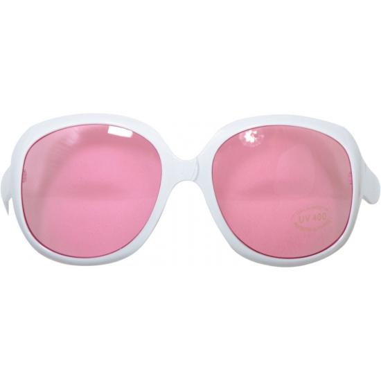 Grote witte bril met roze glazen