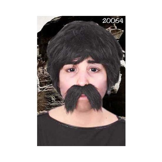 Grote zwarte snor Dorus