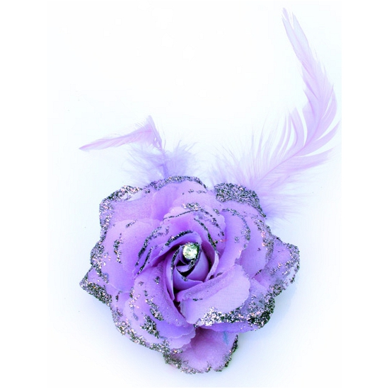 Haar accessoire glitter bloem paars