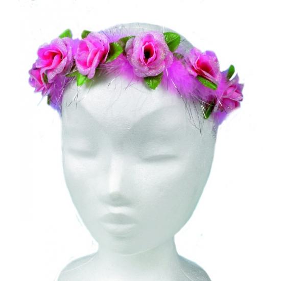 Haarband met roze bloemetjes