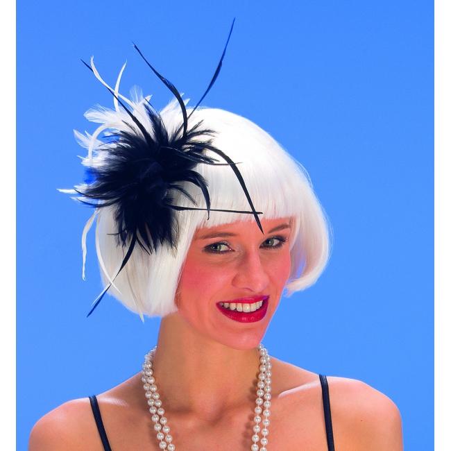 Haarkammetje met zwart en witte veren