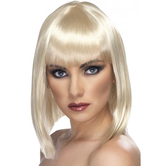 Half lange blonde damespruik