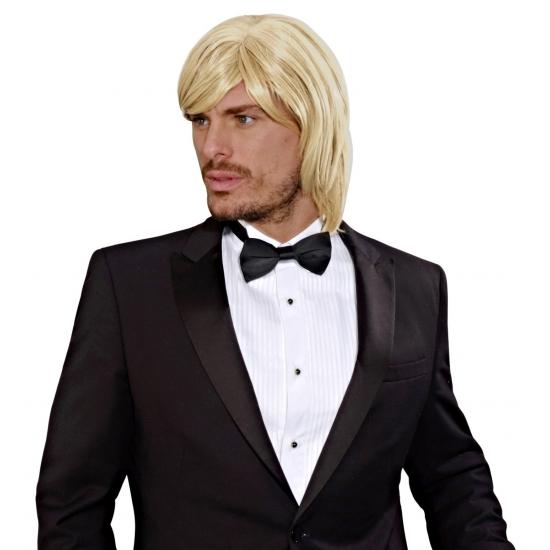 Half lange blonde pruik voor heren