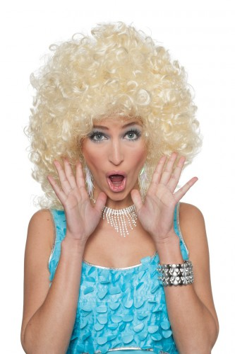 Halflange blonde pruik met krullen