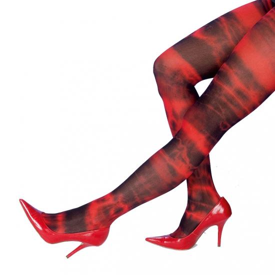 Halloween Rood met zwarte batik panty voor dames