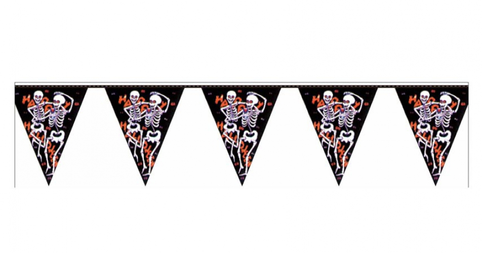 Halloween vlaggenlijn skelet 3 6 meter