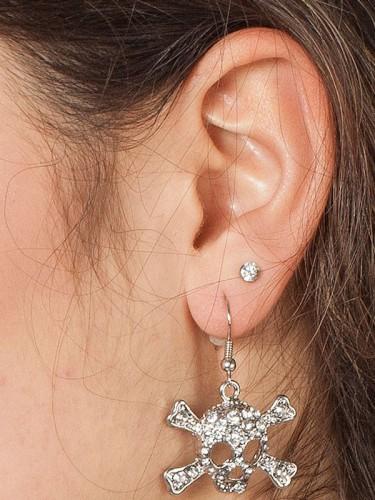 Halloween Zilverkleurige doodshoofd oorbellen