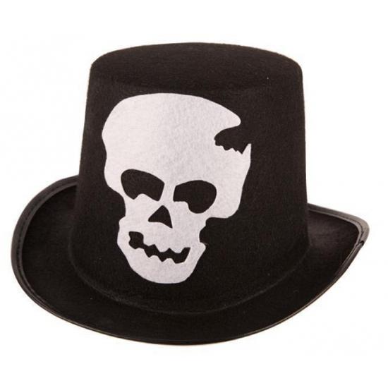 Halloween Zwarte hoge hoed met schedel