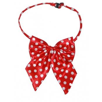Hals strikje rood met witte stippen