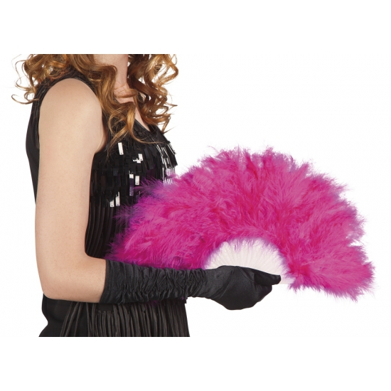 Hand waaier roze met veren