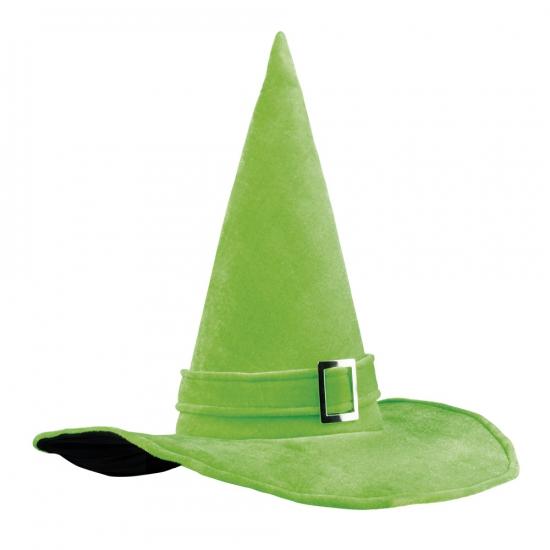 Heksenhoed fluweel groen met gesp