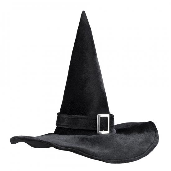 Heksenhoed fluweel zwart met gesp