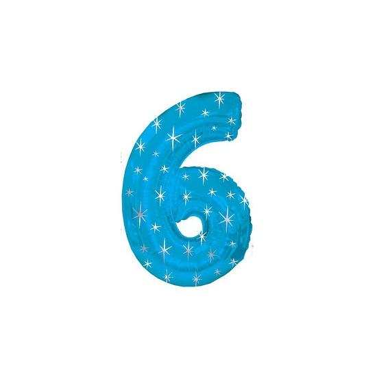 Helium ballon blauw met sparkle nummer 6