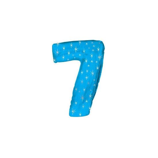 Helium ballon blauw met sparkle nummer 7