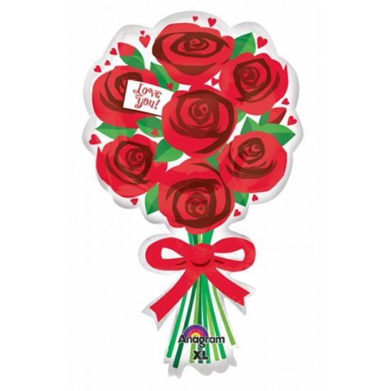 Helium folie ballon met rode rozen