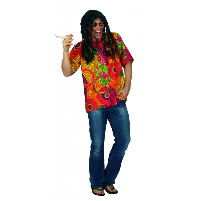 Heren overhemd met hippie print