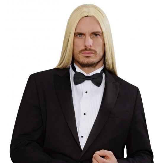 Heren pruik mett blonde lange haren