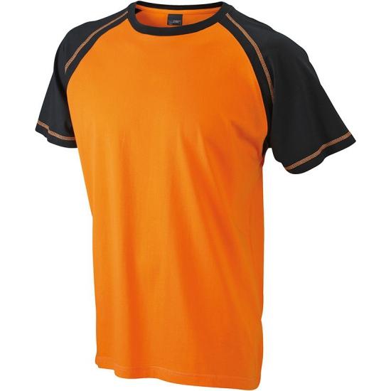 Heren shirt korte mouwen oranje/zwart