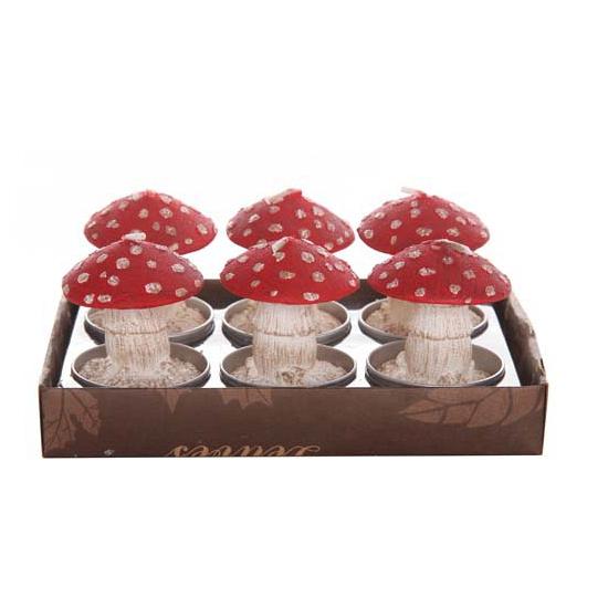 Herfst kaarsjes paddenstoel