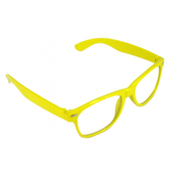 Hippe verkleedbril geel