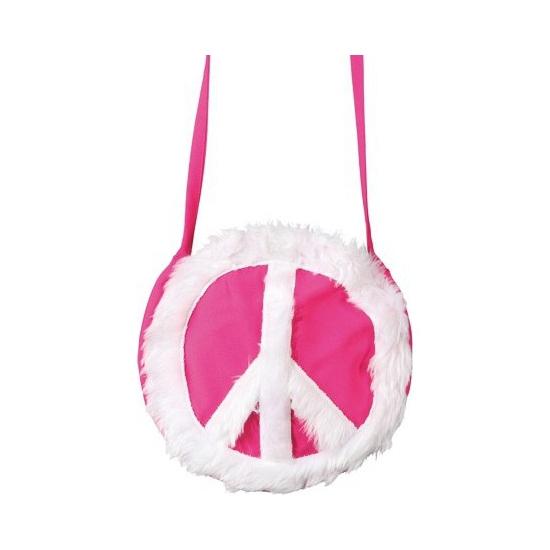 Hippie peace tas roze