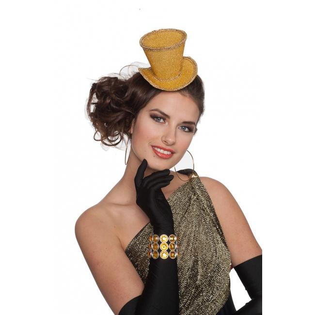 Hoge glitter hoed goud op haarclip