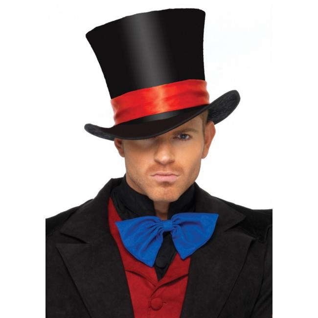 Hoge hoed met rode band deluxe