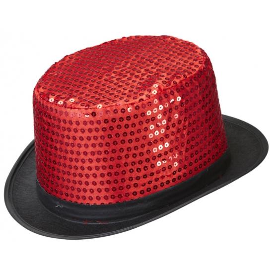 Hoge hoed rood met pailletten