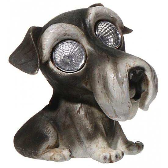 Honden beeldje Schnauzer met licht 13 cm