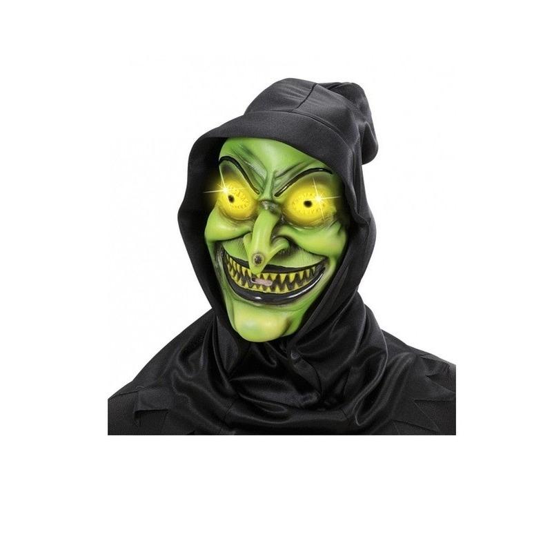 Horror heks masker met kap