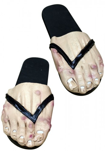 Horror heren voeten met slippers