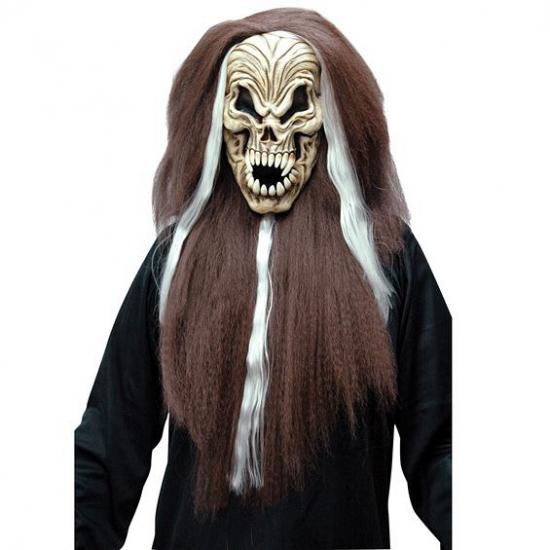 Horror schedel masker met haar