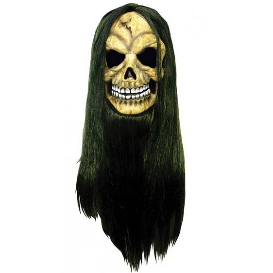Horror schedel masker met lang haar