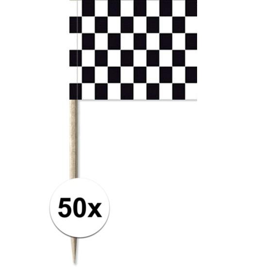 Houten cocktailprikkers finish vlag 50 stuks