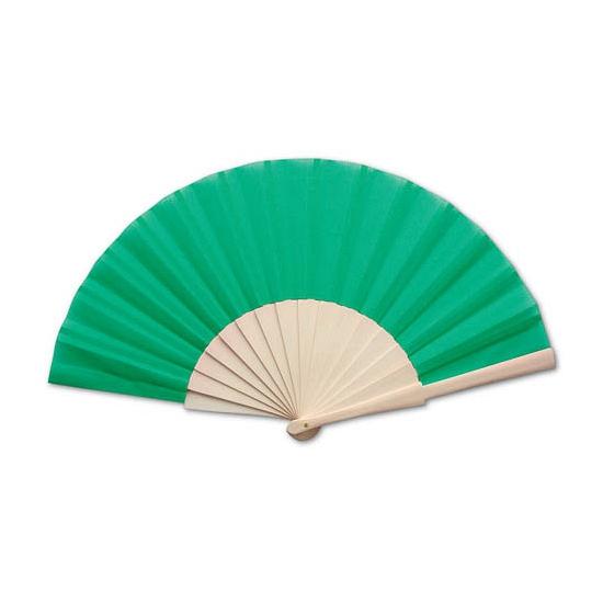 Houten handwaaier groen 42 x 23 cm